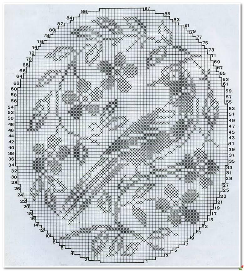местным филейное вязание салфетка с картинкой того
