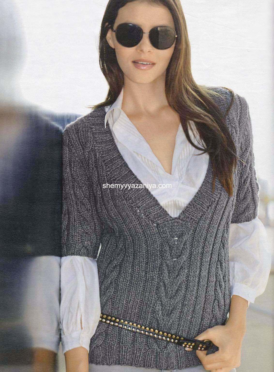 пуловер с V образным вырезом и короткими рукавами вязание постила