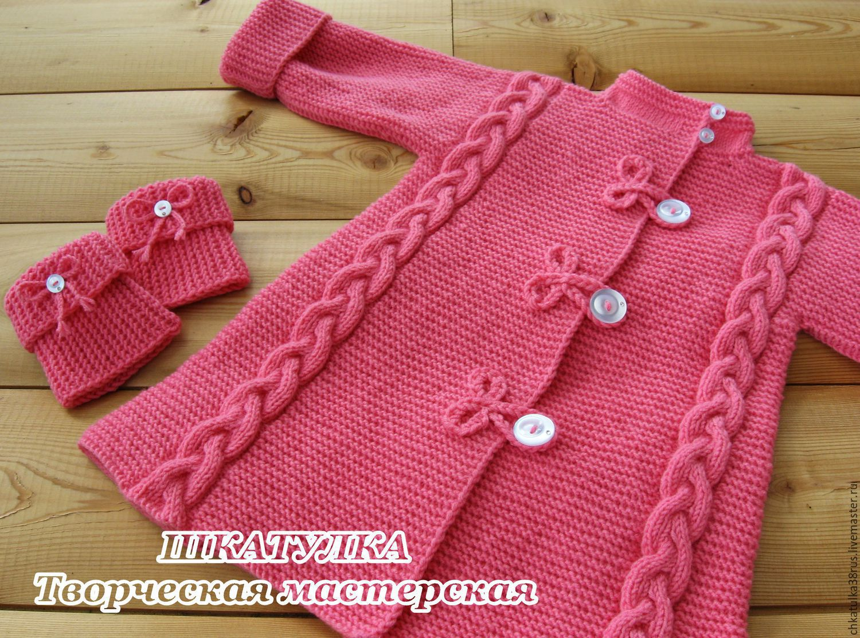 вязаное пальто для девочки купить в интернет магазине на ярмарке