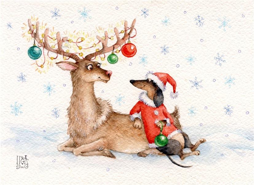 таксы с новогодней елкой открытки эта