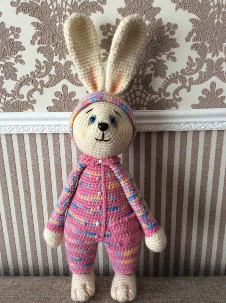 мастер класс по амигуруми заяц в пижаме крючком игрушки вязаные