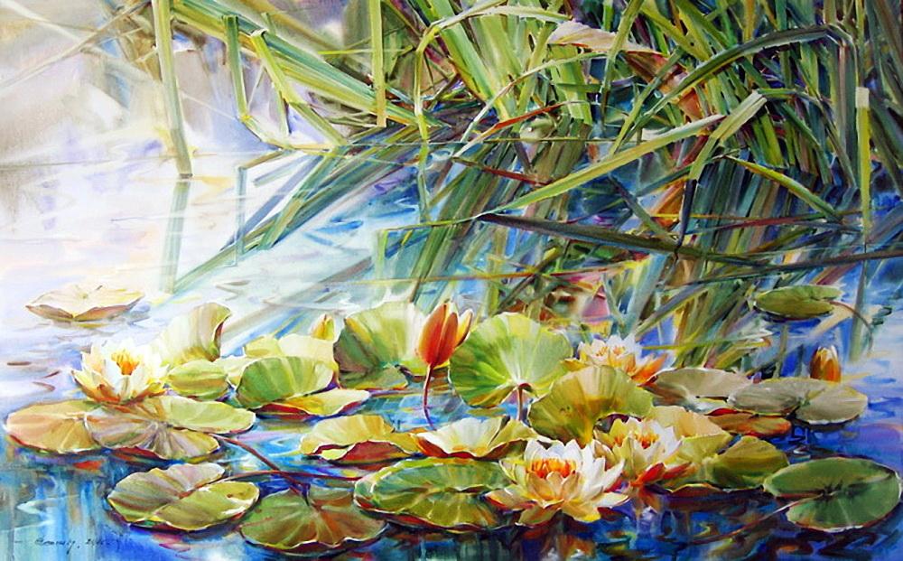 Крутые картинки, картинки со стрекозами на пруду с лилиями