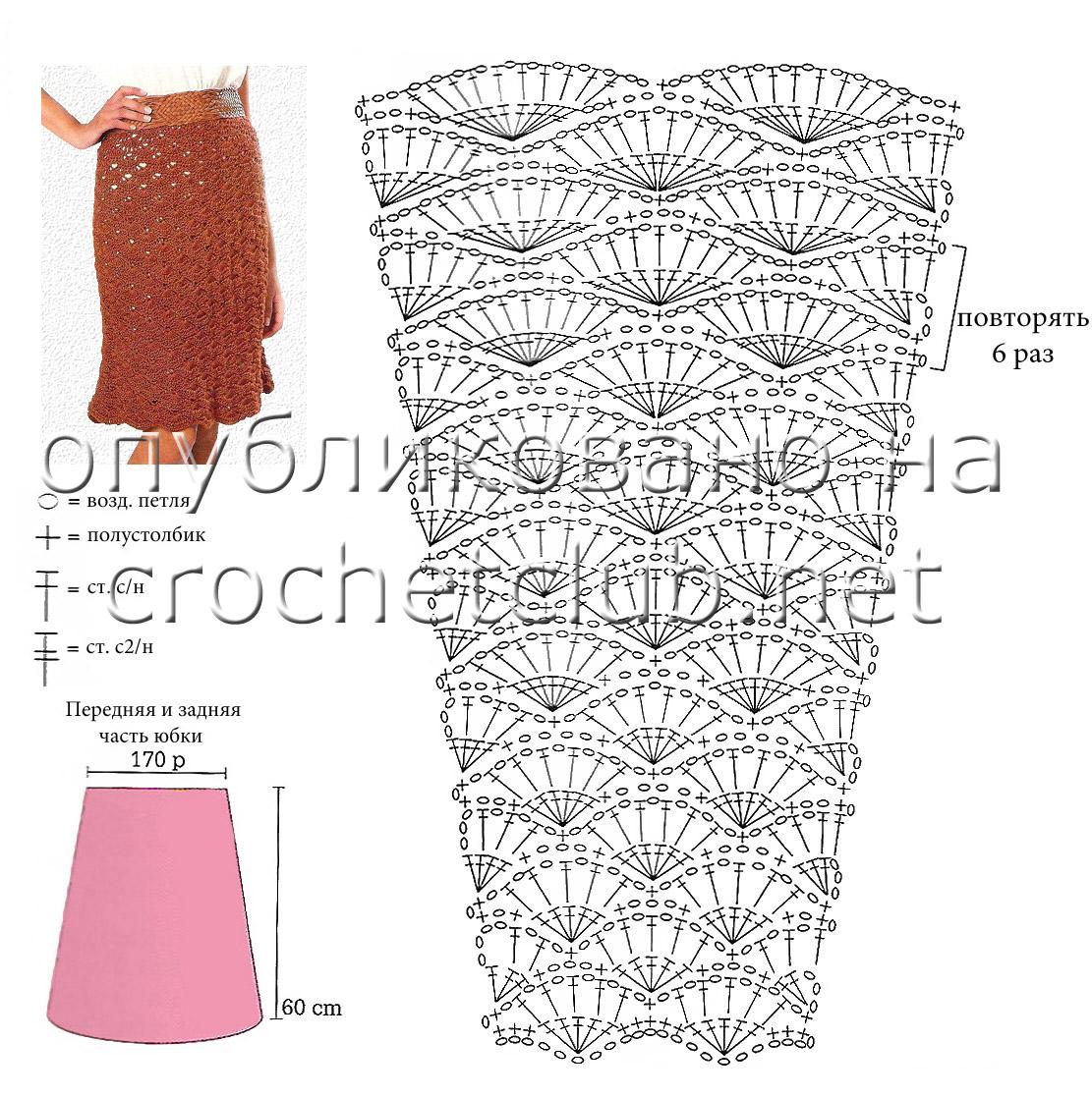 Крючком узоры и схемы для юбок