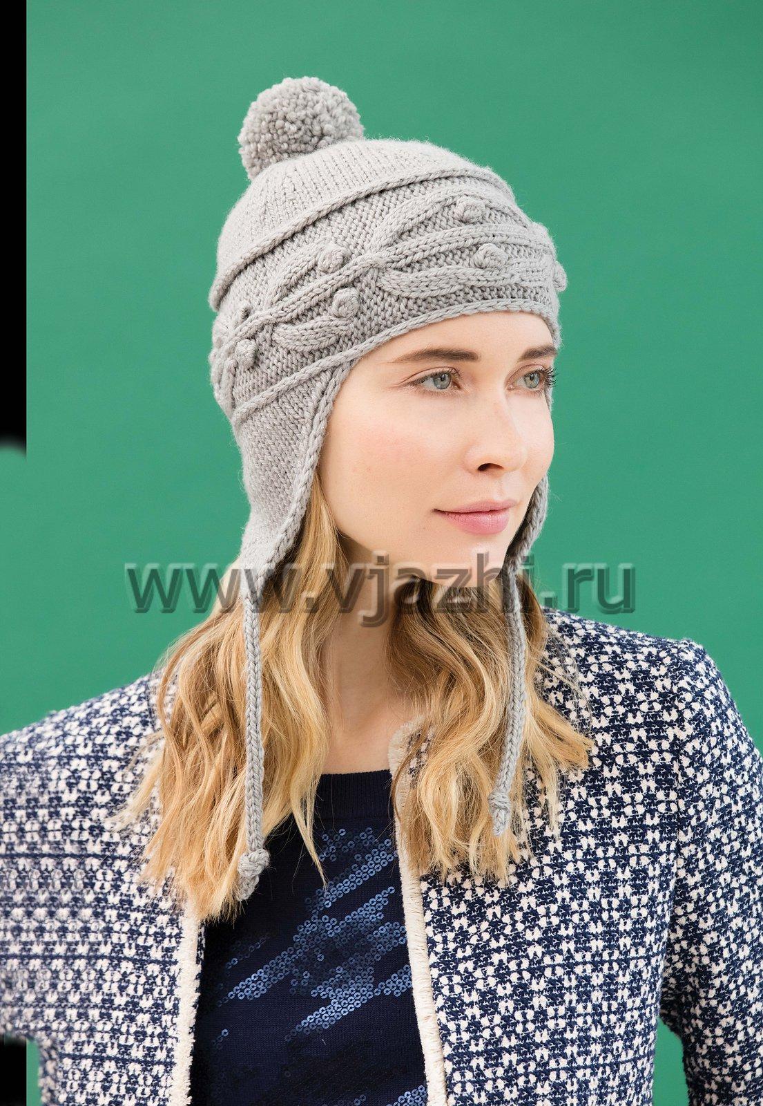 женская шапка с ушками с описанием и схемами женская вязаная спицами