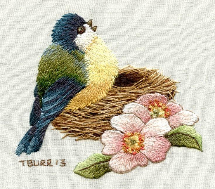 Птица схема вышивки гладью