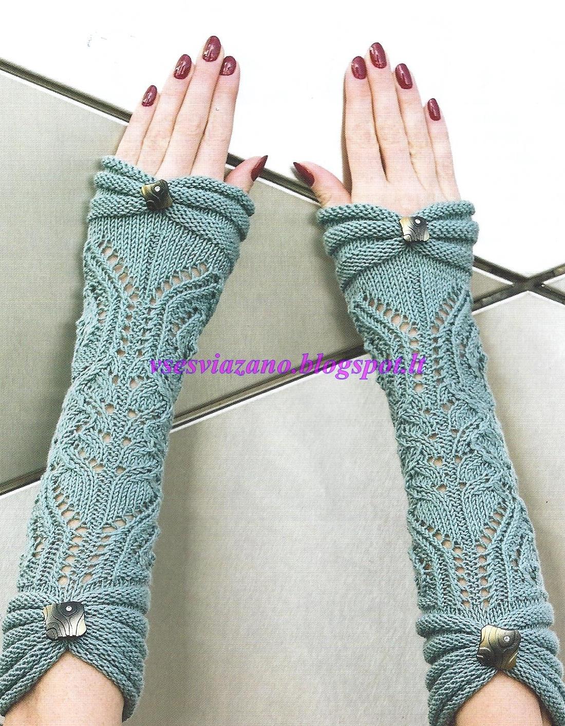 ажурные длинные варежки вязание