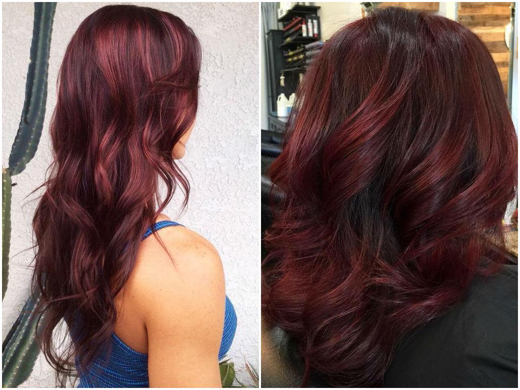 Цвет волос бургунд фото