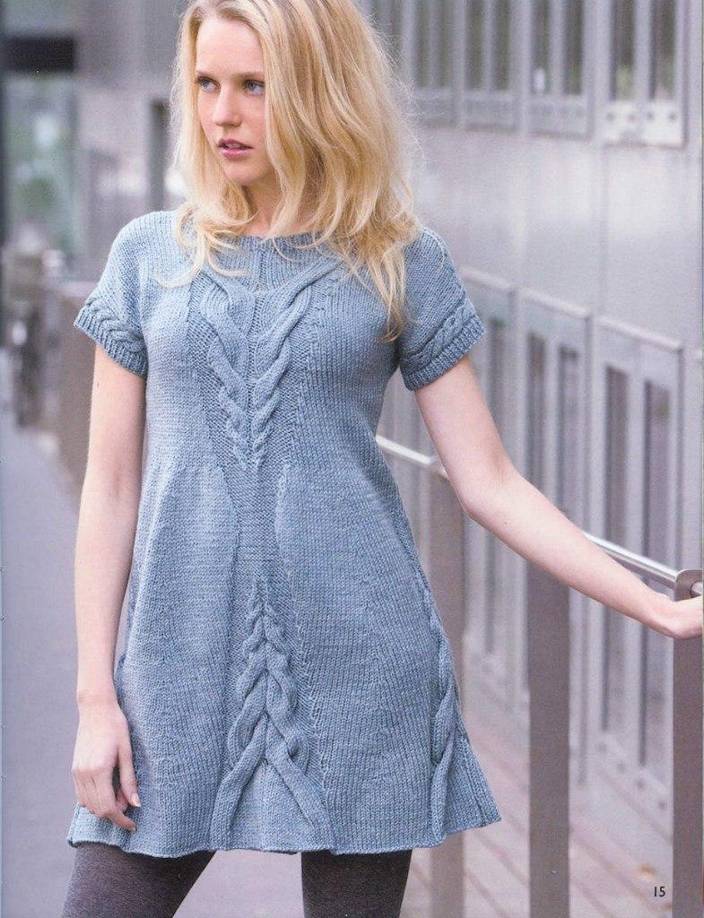 Вязание на спицах платье модели 15
