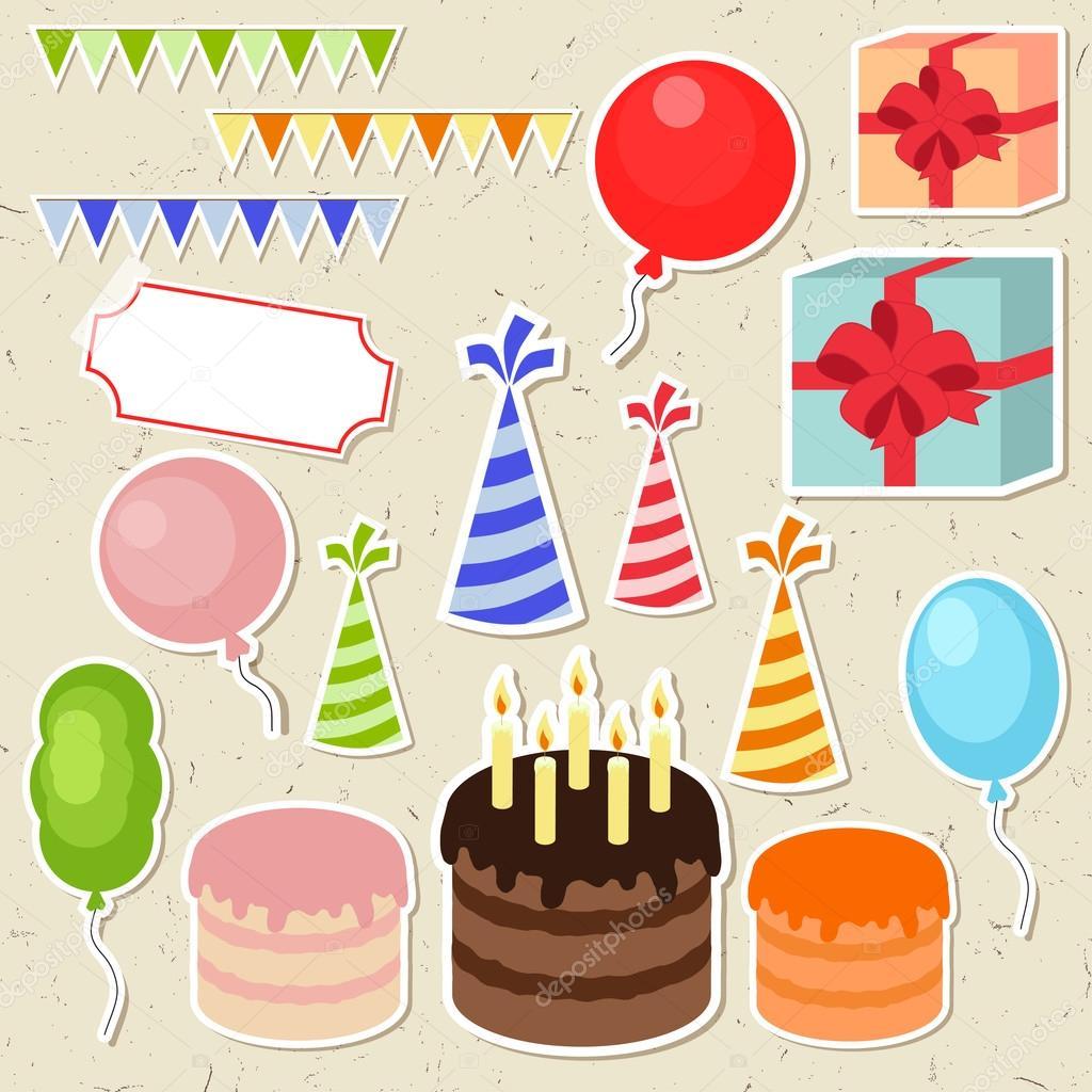 Картинки с днем рождения на белом фоне много на одном листе