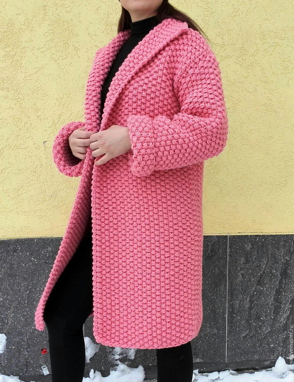 вязаное пальто крупной жемчужной вязки крупный жемчуг купить или