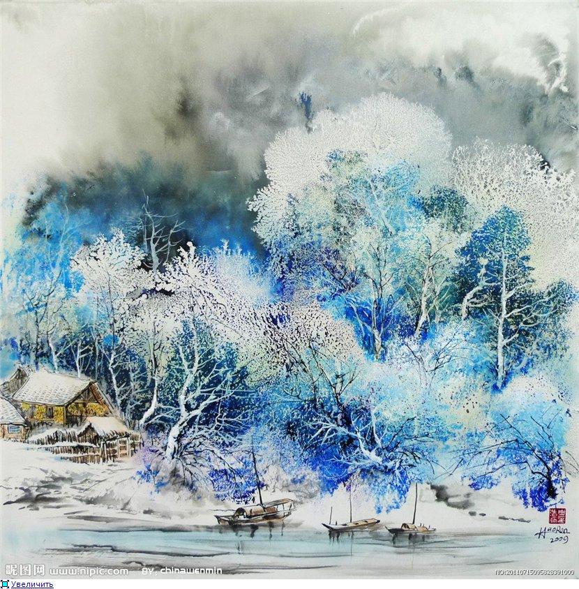 Зима в картинках и акварелях художников