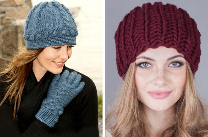 вязаные шапки для женщин 50 лет фото и схемы головных уборов