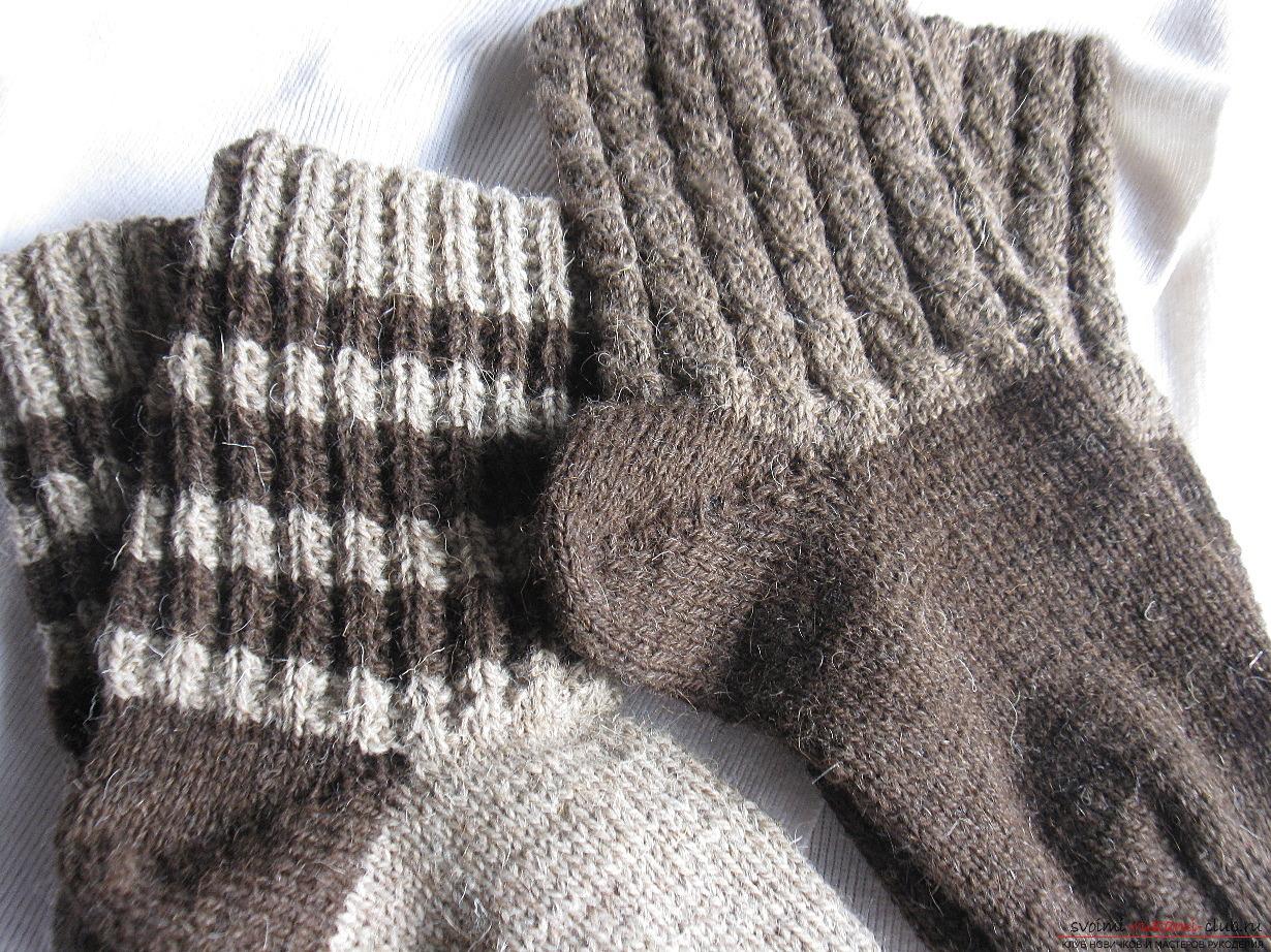 вязание теплых носков на 2 спицах подробная схема с описанием и