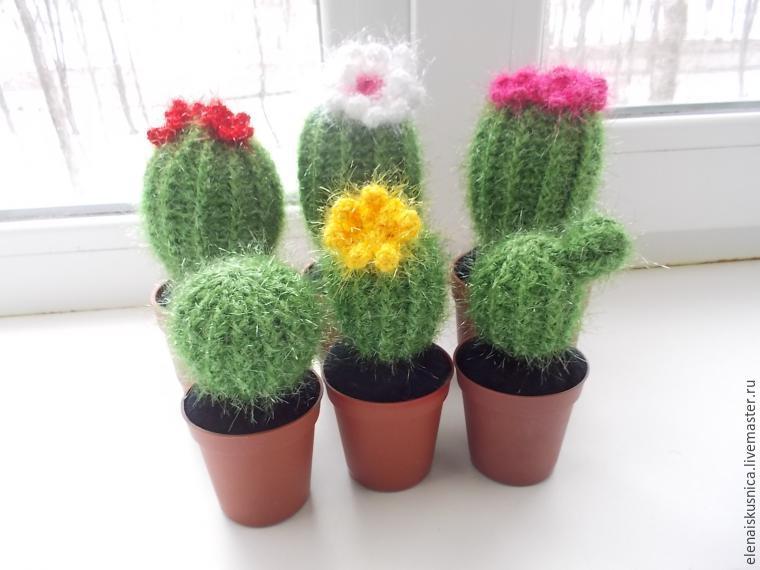 очаровательная игольница кактус вязанные цветочки крючком постила