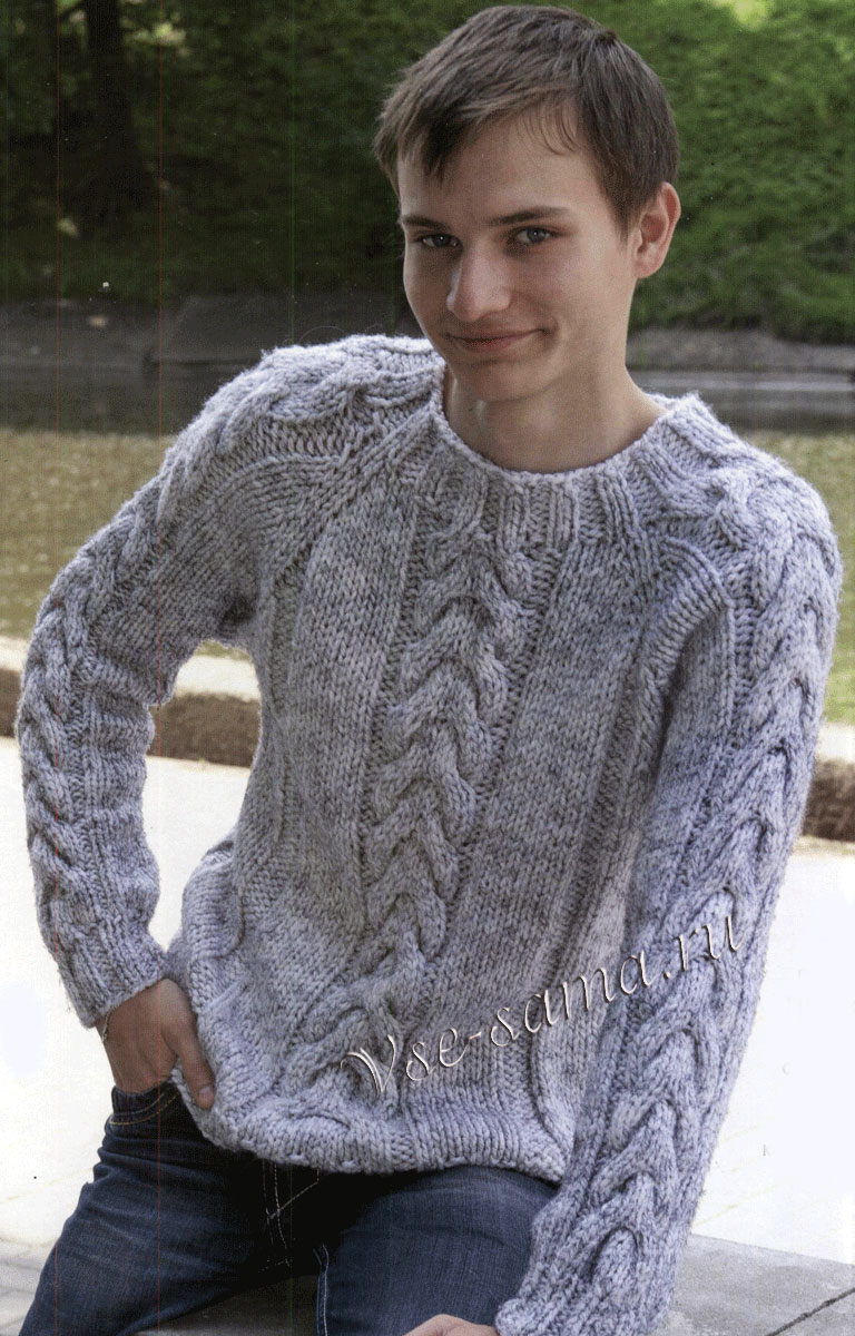 пуловер мужской спицами описание схема и выкройка вязание для