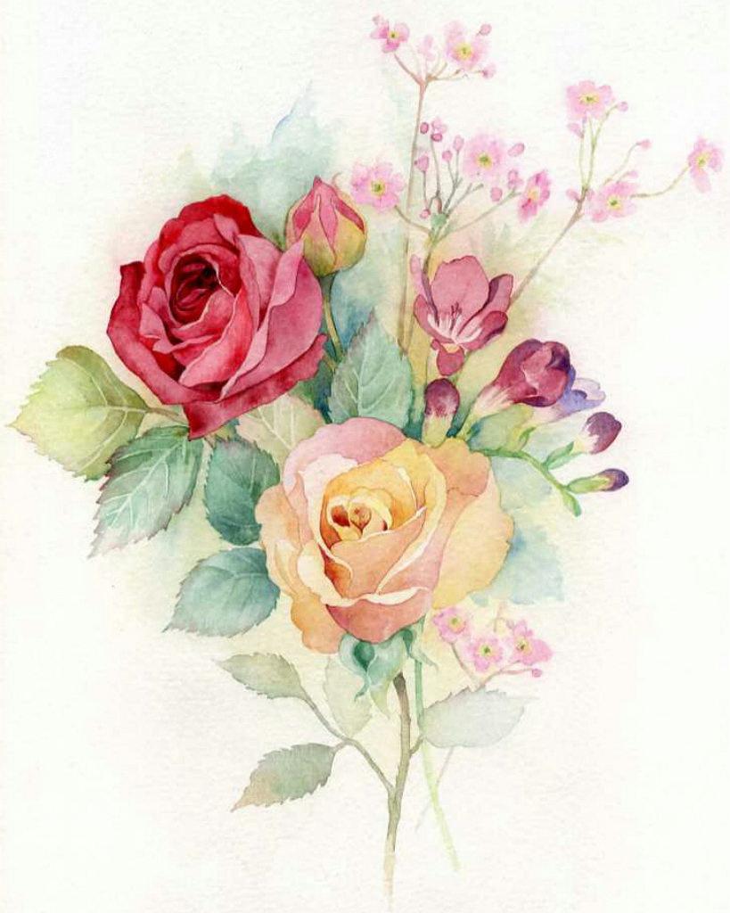 Открытки, рисунок открытки с цветами