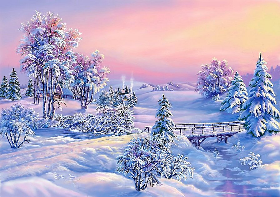 Картинки, новогодняя открытка с зимним пейзажем