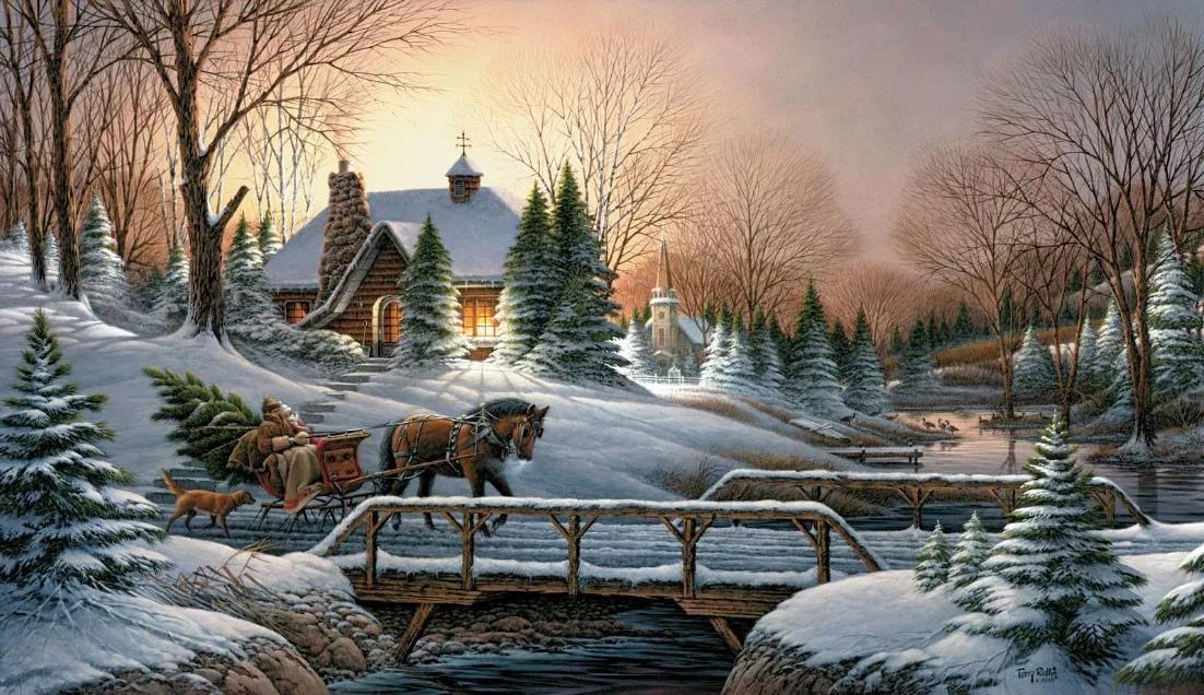 Картинки новогодние пейзажи для декупажа
