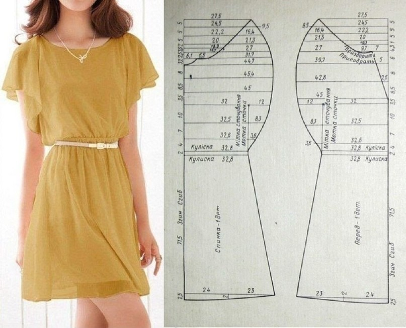 Выкройка простого платья картинка
