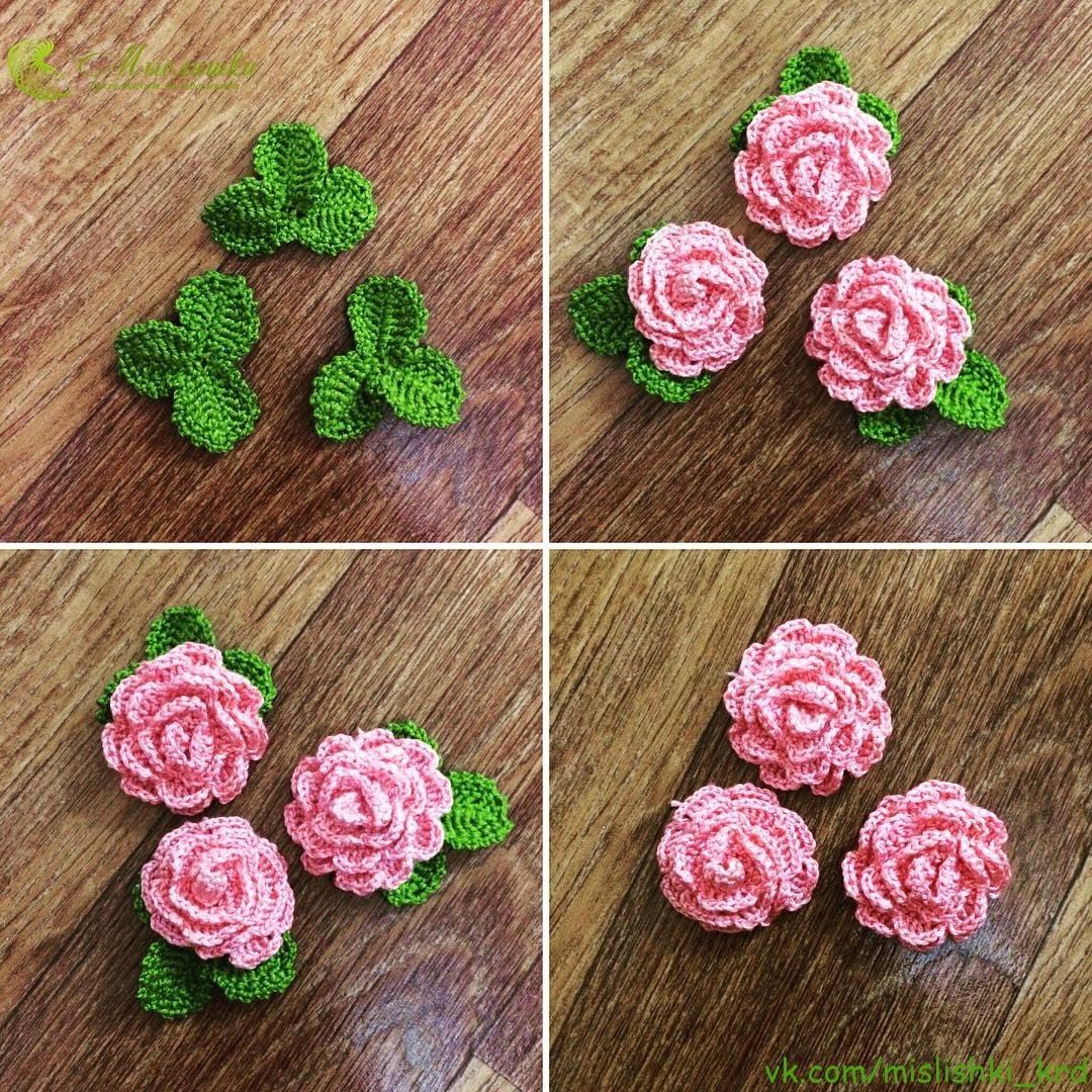вязаные розы крючком фото и схемы