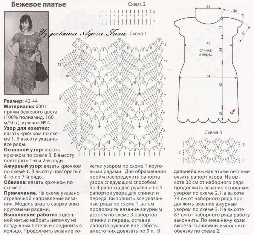 Платье вязанное крючком фото схемы описание