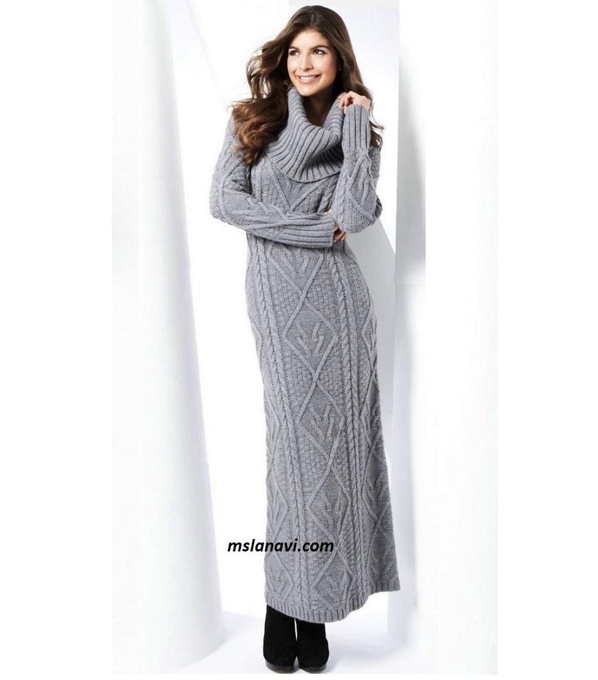 длинное вязаное платье вяжем с лана ви платье зимнее туника