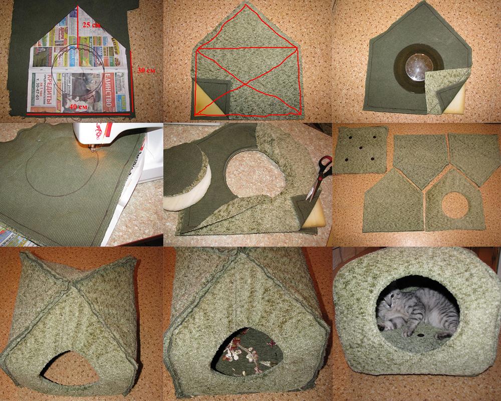 Как сшить домик для кошки своими руками фото фото 753