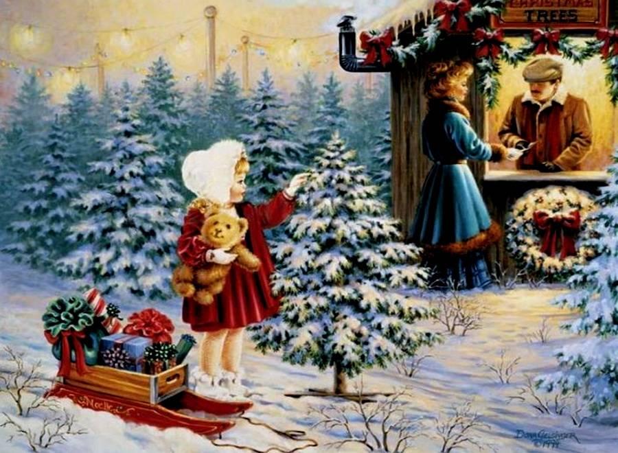Живопись в новогодних открытках
