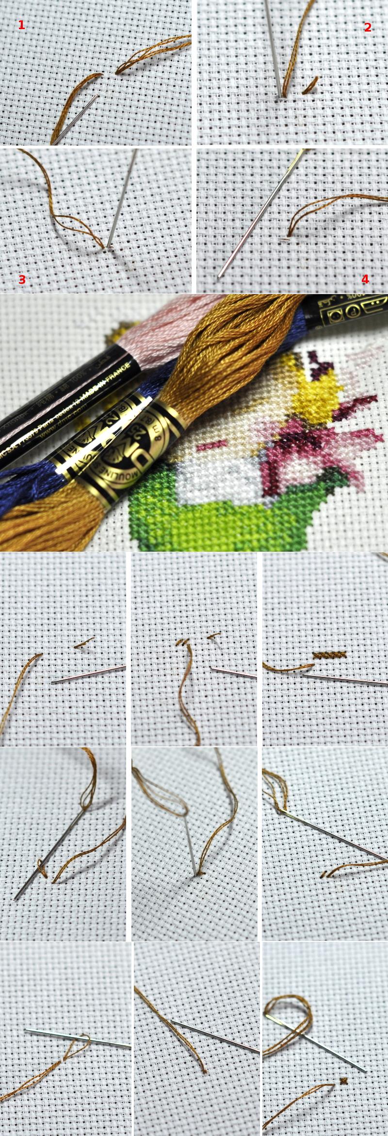 Как закрепить нитку при вышивке полукрестом 57