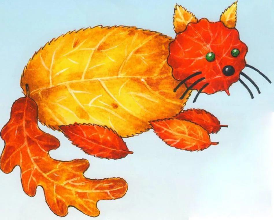 Рисунки из листьев на тему осень