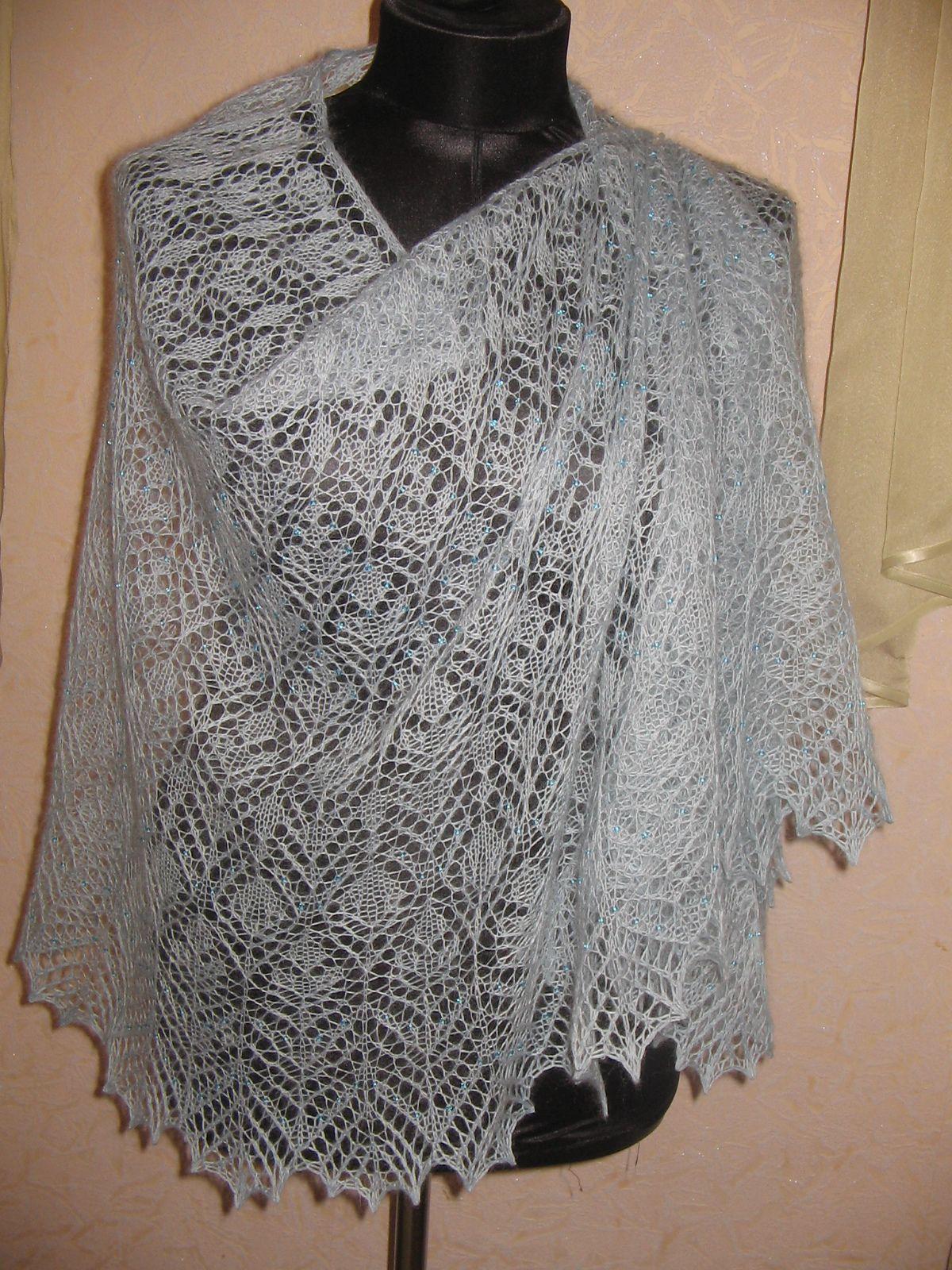Схема ажурной шали спицами фото 890