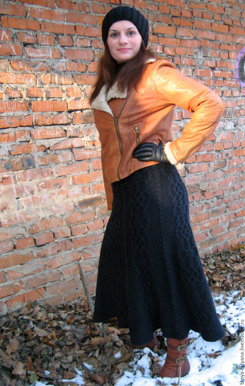 юбка вязаная нуар длинная черная теплая купить в интернет