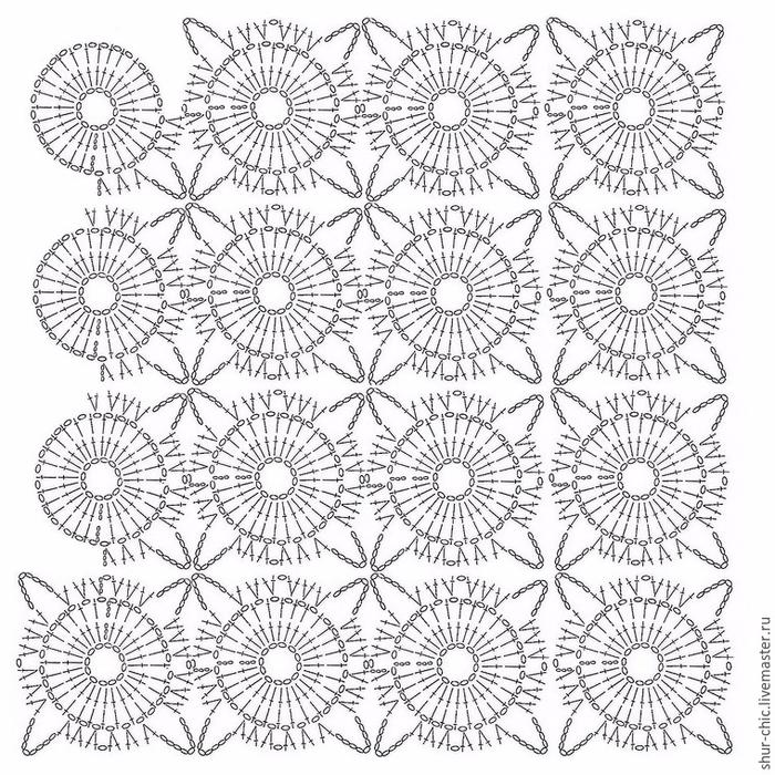 Вязание крючком схемы квадратных мотивов безотрывное вязание 20