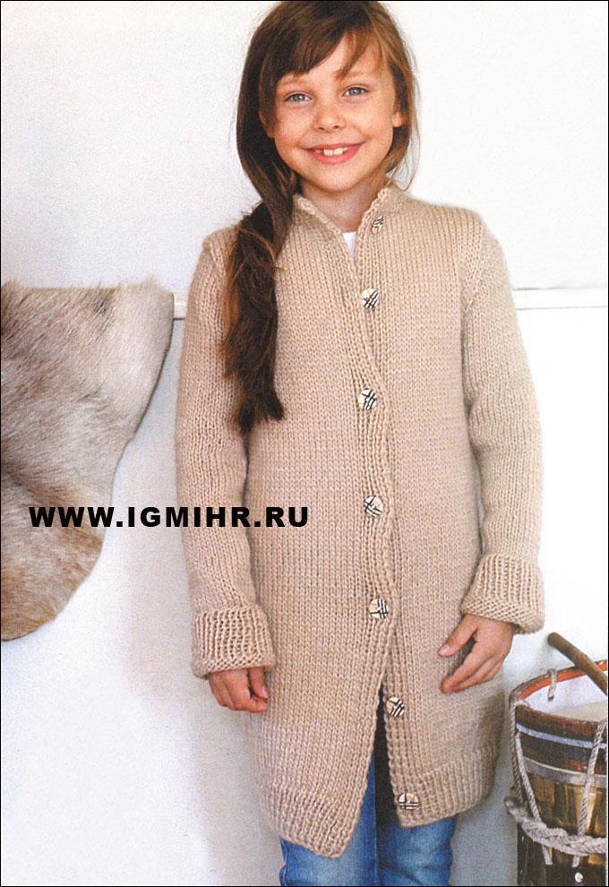 удлиненный шерстяной жакет для девочки 6 12 лет вязание для детей