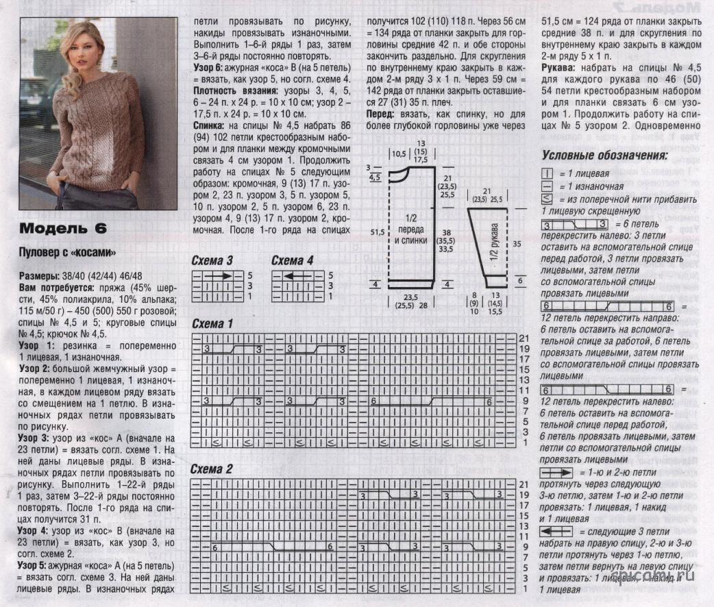 Свитер патентной резинкой - Схемы вязания