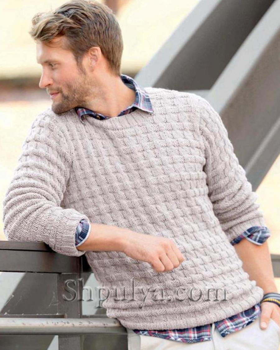 Вязание спицами мужской пуловер схема фото 643