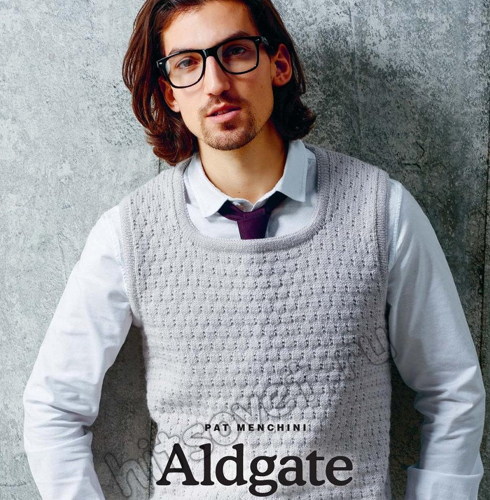 Рельефный мужской свитер с оригинальным воротником спицами