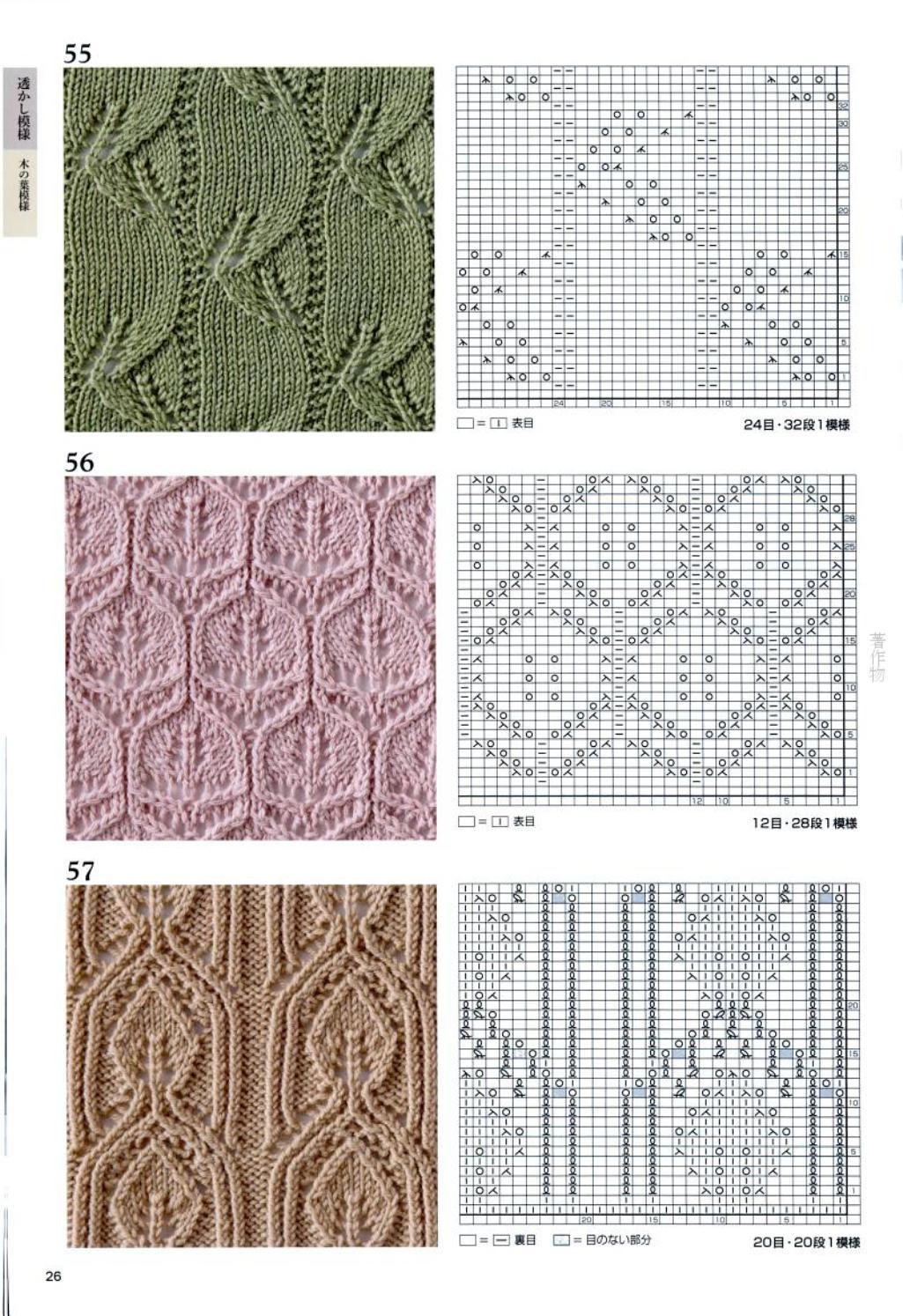 Вязание японские узоры ажурными на спицах