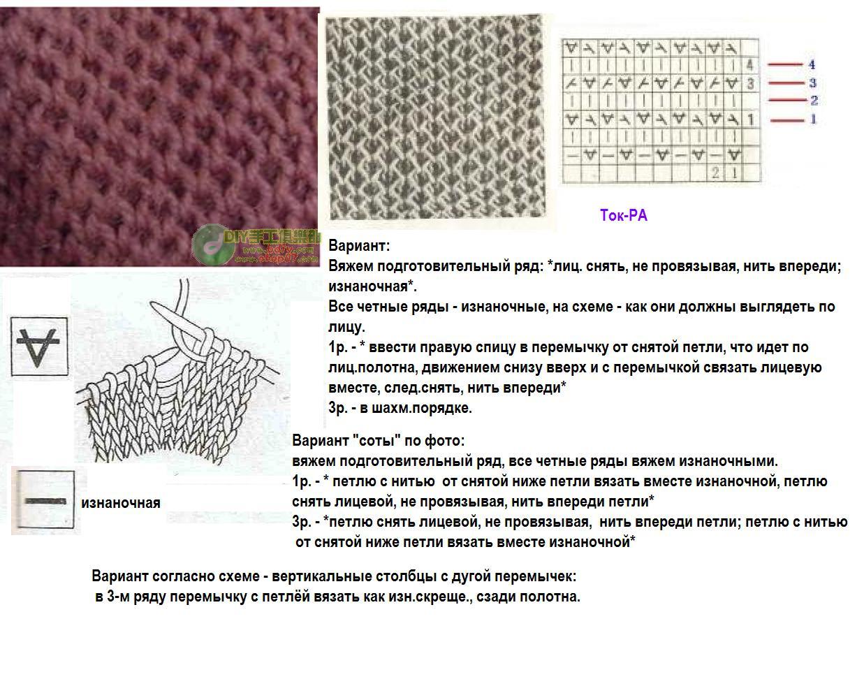 Виды рисунков для вязания на спицах описание 6
