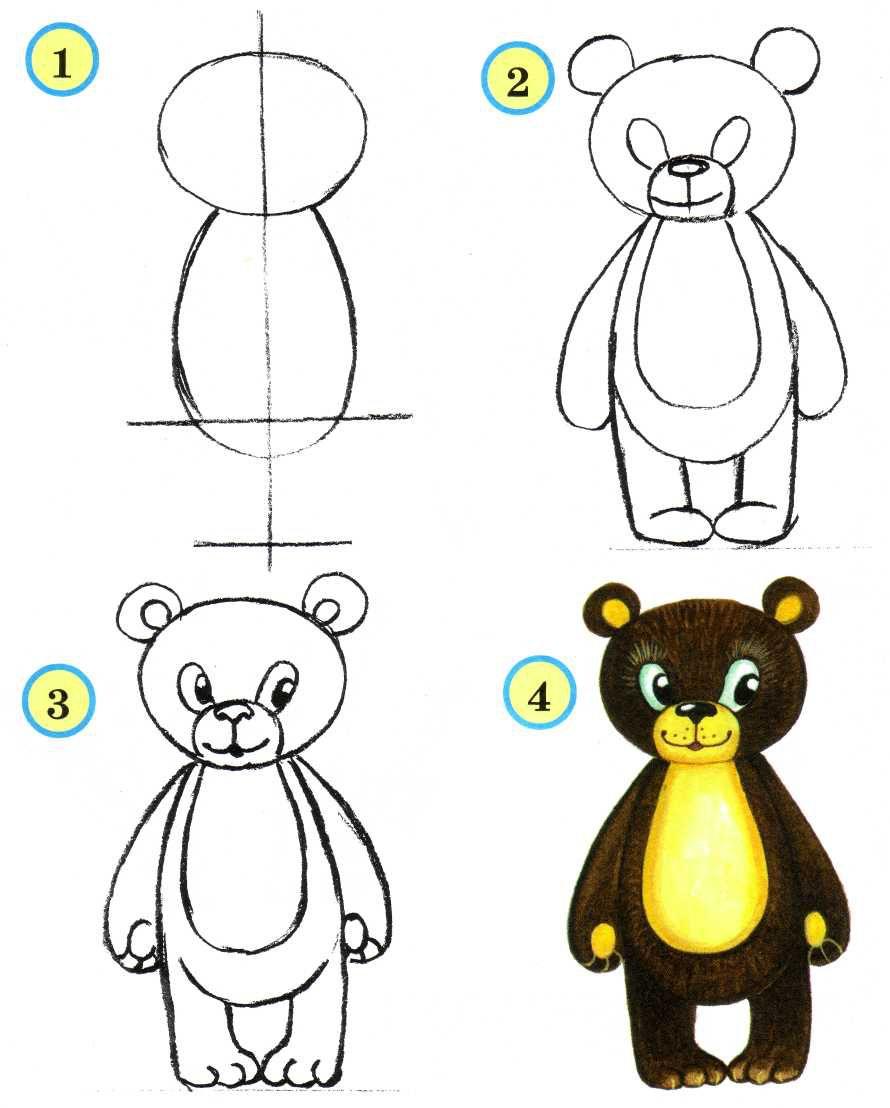 Картинки учимся рисовать мишки