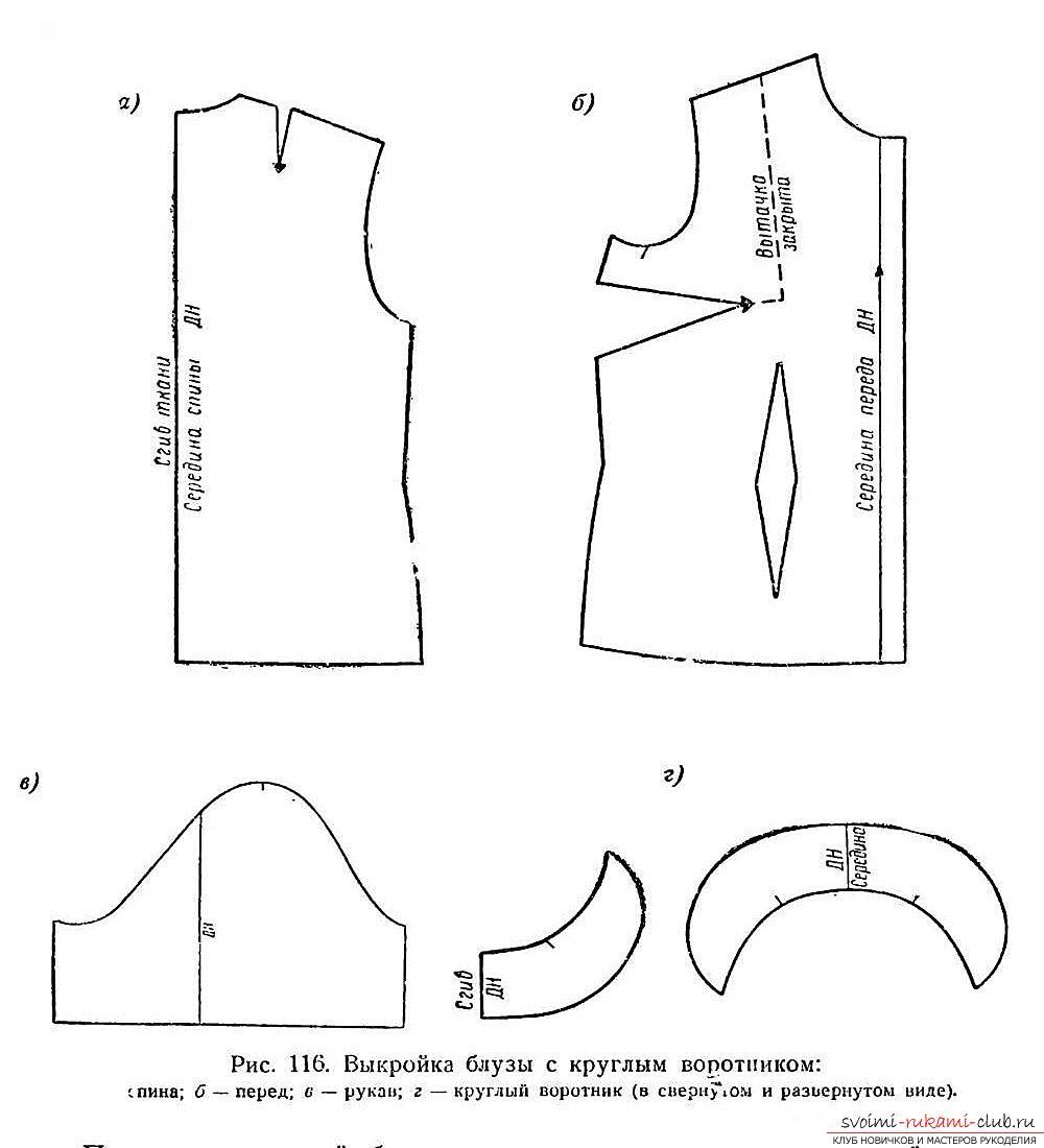 выкройка прямой блузы фото декольте