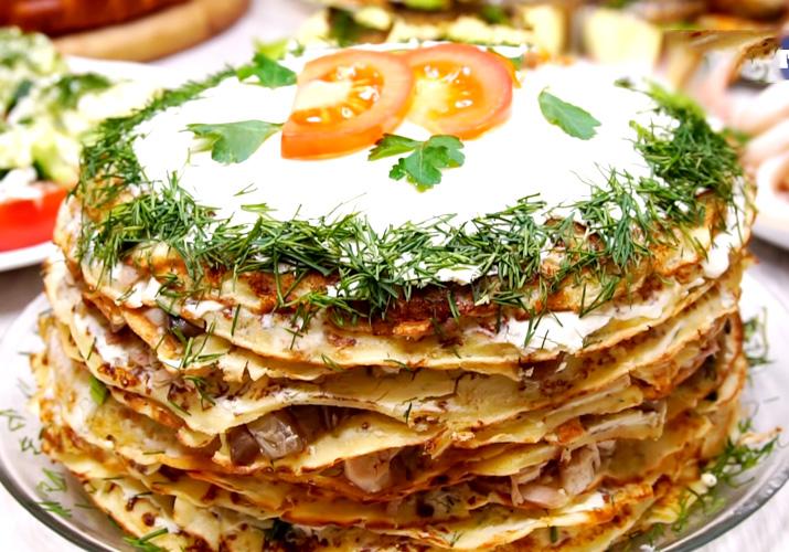 блинный пирог с курицей и грибами картинки