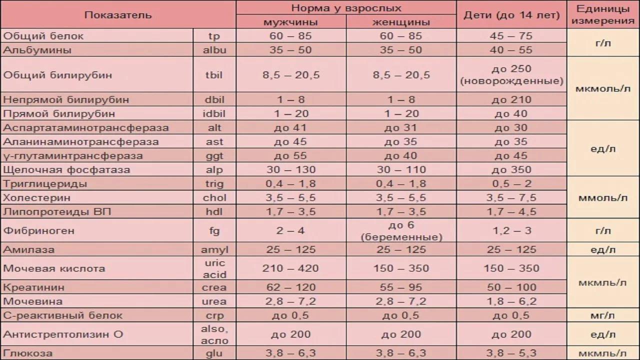 У таблица человека анализ биохимический крови сдать хгч анализ крови где