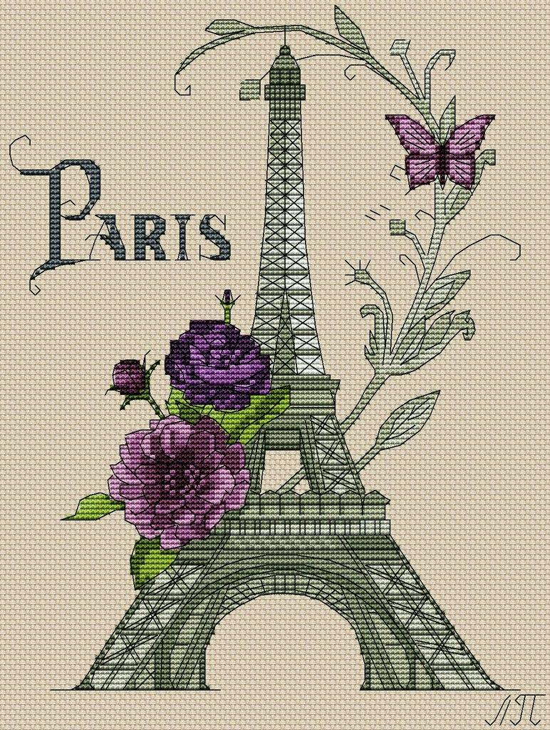 Вышивка крестом эйфелевой башни. Схема вышивки париж | amac.