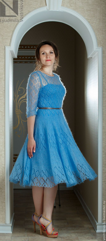 Платье из мохера спицами схема