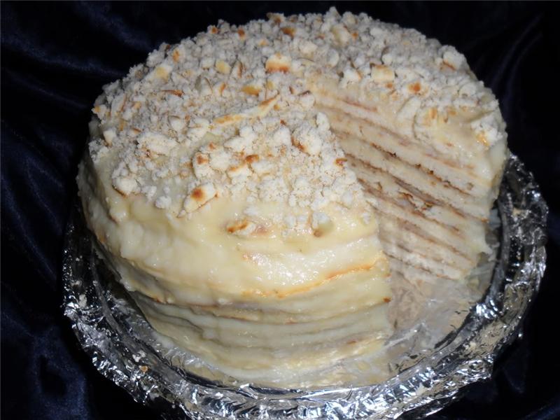 Слоеный торт на сковороде рецепт с фото