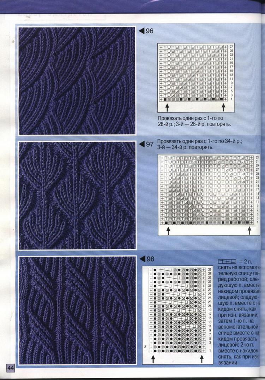 Схемы плотных узоров спицами и крючком