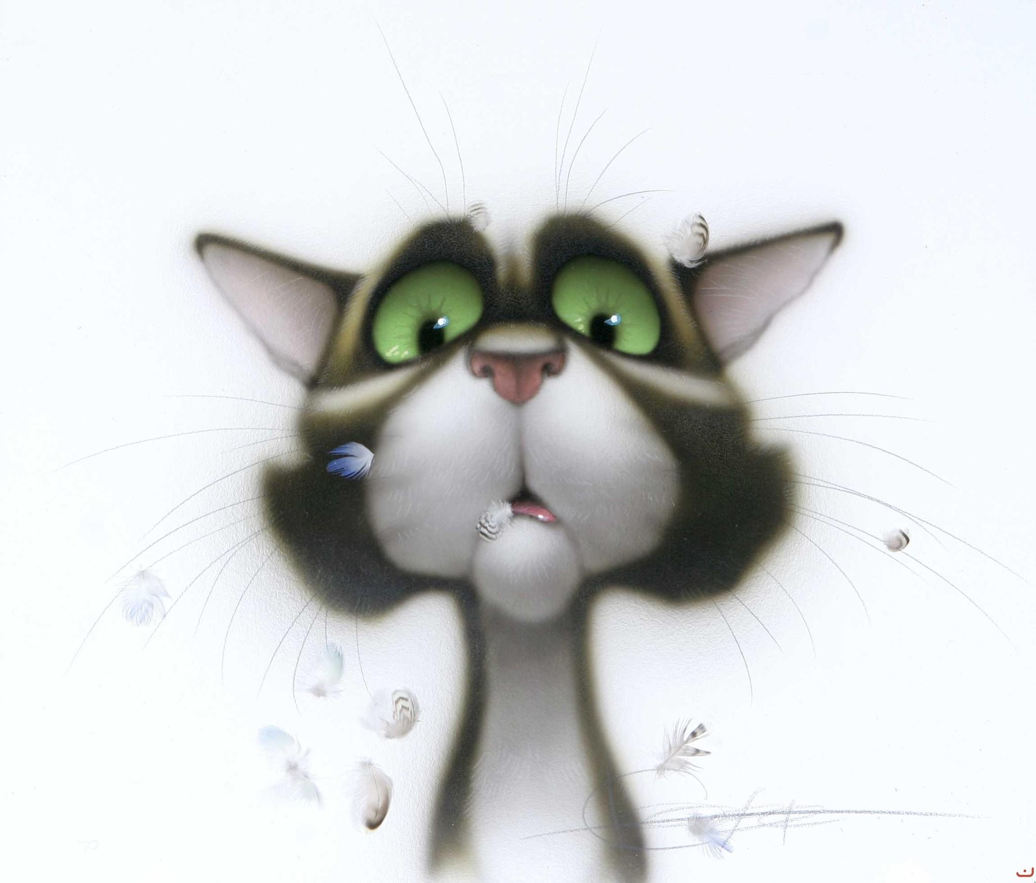 Картинки смешных нарисованных кошек