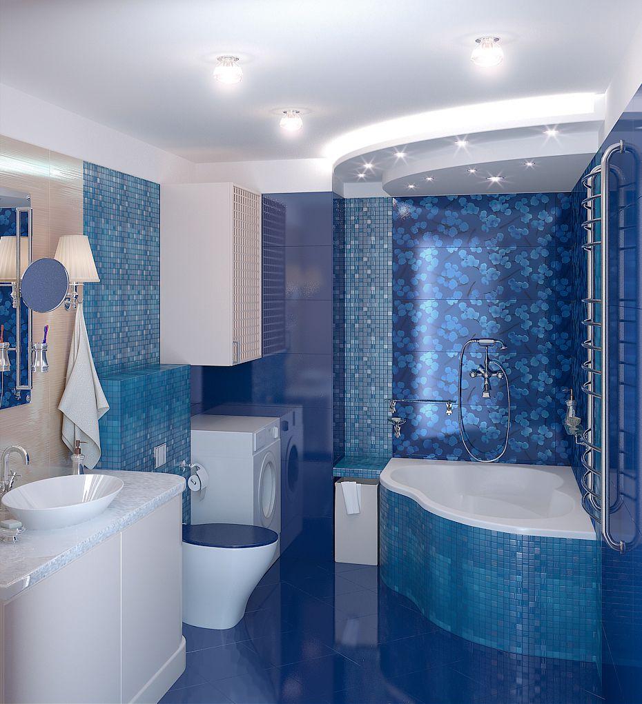 Картинки ванная комната синее