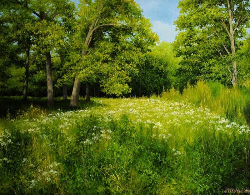 картина лесная поляна кефирный грибок
